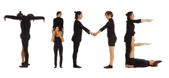 Black dressed people forming TIME word Royalty Free Stock Image