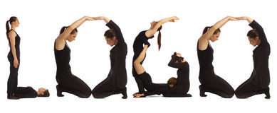 Black dressed people forming word LOGO Stock Photography