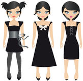Black dresses. Three Black Haired Teen Girls In Different Styled Black Dresses, On A White Background Royalty Free Stock Photo