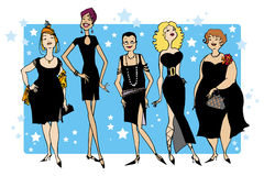 Black dresses. Black dress party Vector Illustration