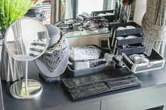 Black dressing table with accessories Stock Photo