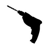 Black drill icon isolated on white background Stock Photography