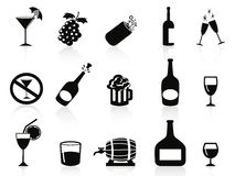 Black drinks and beverages icons Royalty Free Stock Images
