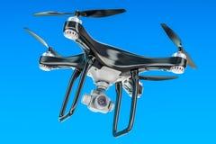 Black Drone in the blue sky, 3D. Rendering stock illustration