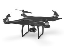 Black drone isolated on white Royalty Free Stock Photo