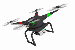 Black drone or quadcopter equipped with camera Stock Photo
