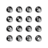 Black drop building icons Royalty Free Stock Photo