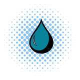 Black drop icon, comics style Stock Images