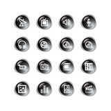 Black drop media icons Stock Photo