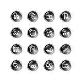 Black drop medicine icons. Glossy vector icons, black drop series Royalty Free Stock Photography