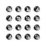 Black drop software icons. Glossy vector icons, black drop series Royalty Free Stock Photography