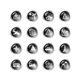 Black drop travel icons Stock Images