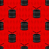 Black drums on a red background seamless pattern Royalty Free Stock Photography