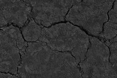 Black Dry Drought Land with Chaps. As Natural Ground Background stock photography
