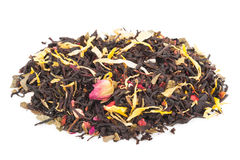 Free Black Dry Tea With Fruits And Petals Royalty Free Stock Photo - 81808735