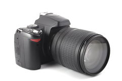 Black dslr camera. Isolated on white background Royalty Free Stock Image