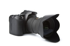Black DSLR camera isolated. On white Royalty Free Stock Photos