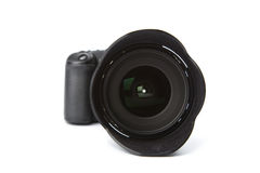 Black DSLR camera isolated. On white Stock Photography