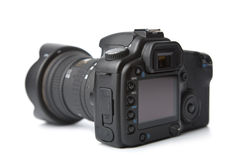 Black DSLR camera isolated. On white Royalty Free Stock Photography