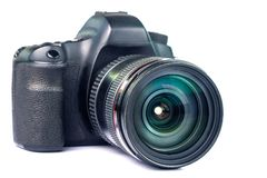 Black DSLR Camera isolated on white background. royalty free stock photos
