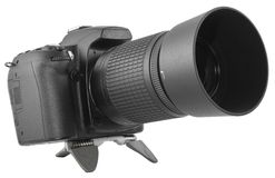 Black DSLR With Zoom Lens Royalty Free Stock Image