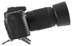 Black DSLR with zoom lens Stock Photo