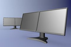 Black dual display monitor Stock Photos