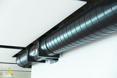 Black Ductwork. Install against white ceiling stock image