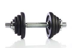 Black dumbbell isolated on a white Royalty Free Stock Images