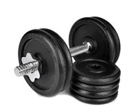 Black dumbbell. Isolated on white Royalty Free Stock Image