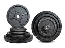 Black dumbbell with metal discs Stock Images