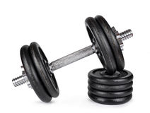 Black dumbbell with metal discs Royalty Free Stock Photo