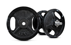 Black dumbbell with metal discs Stock Image