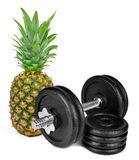 Black dumbbell with pineapple Royalty Free Stock Images