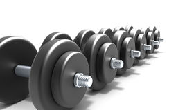 Black dumbbells Royalty Free Stock Photos