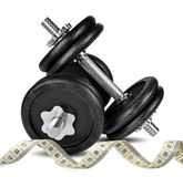 Black dumbbells with measuring tape Stock Photography