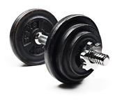Black and  dumbbells on a white background Royalty Free Stock Photography