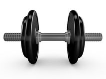 Black Dumbells. Black dumbell or hand weight on white background Stock Photography