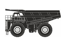 Dump truck. Black dump truck on the white background Royalty Free Stock Photos