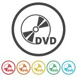 Black dvd icon isolated on white, 6 Colors Included. Simple vector icons set Stock Photography
