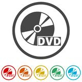 Black dvd icon isolated on white, 6 Colors Included. Simple vector icons set Royalty Free Stock Photos