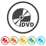 Black dvd icon isolated on white, 6 Colors Included. Simple vector icons set Stock Image