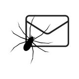 Black E mail virus attack, internet trojan detected Stock Photo