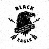 Black Eagle. Hand drawn emblem. Royalty Free Stock Image