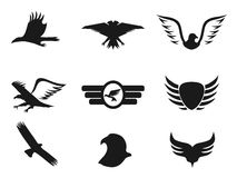 Black eagle icons set Stock Photos