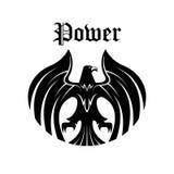 Black eagle round symbol for heraldic design Royalty Free Stock Images