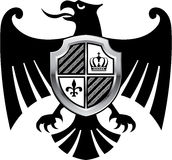 Black Eagle with Silver Shield Royal Vector Stock Photo