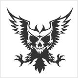 Black eagle and skull. On white Stock Photography