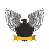 Black Eagle with white wings. Logo or emblem fo  soldiers.  Stock Images