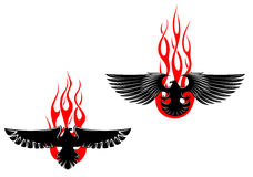 Black eagles with tribal flames Royalty Free Stock Image
